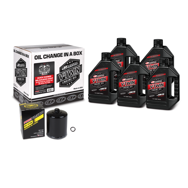 Maxima Oils - V-Twin Oil Change Kits - Quick Change Milwaukee-Eight Synthetic 20W-50 Black Filter ('17 - Current Milwaukee-Eight Engines)