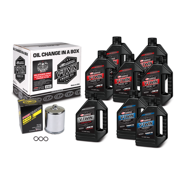 Maxima Oils - V-Twin Oil Change Kits - Milwaukee-Eight Synthetic 20W-50 Chrome Filter ('17 - current Milwaukee-Eight Engines)