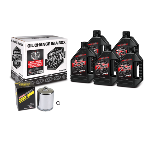 Maxima Oils - V-Twin Oil Change Kits - Quick Change Milwaukee-Eight Synthetic 20W-50 Chrome Filter ('17 - current Milwaukee-Eight Engines)