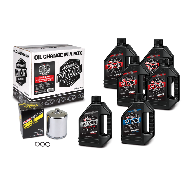 Maxima Oils - V-Twin Oil Change Kits - Twin Cam Synthetic 20W-50 Chrome Filter ('99 - current Twin Cam Engines)