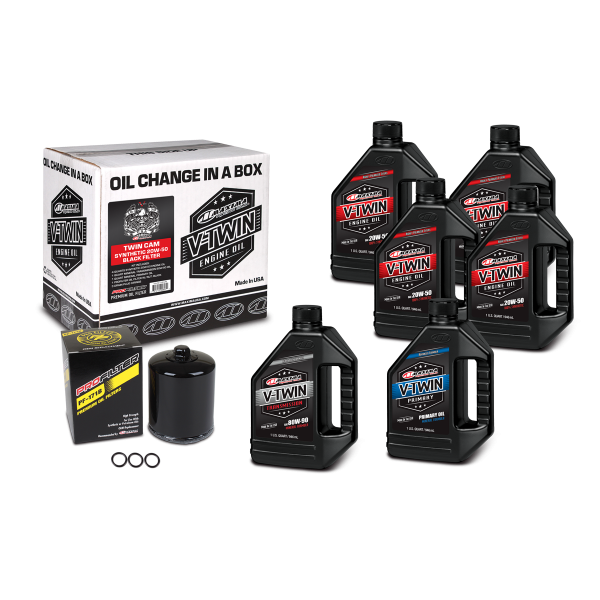 Maxima Oils - V-Twin Oil Change Kits - Twin Cam Synthetic 20W-50 Black Filter ('99 - current Twin Cam Engines)