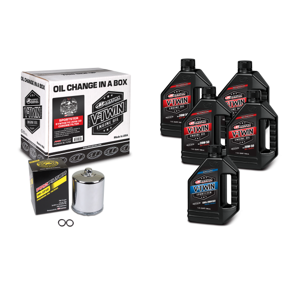 Maxima Oils - V-Twin Oil Change Kits - Sportster Synthetic 20W-50 Chrome Filter ('86 - current Sportster Engines)