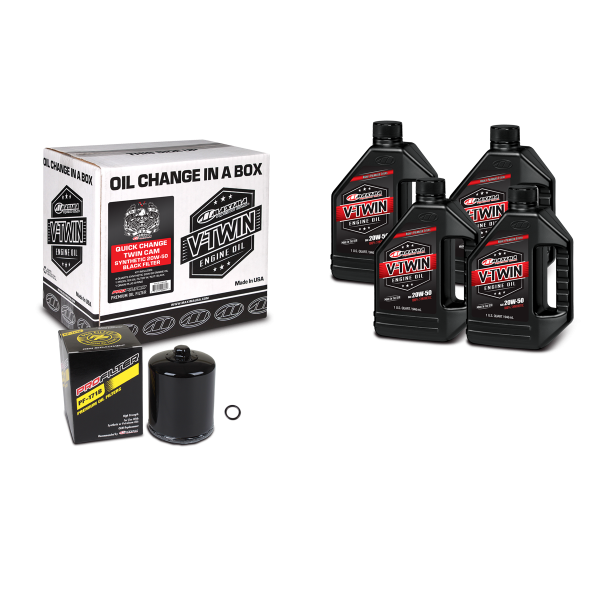 Maxima Oils - V-Twin Oil Change Kits - Quick Change Twin Cam Synthetic 20W-50 Black Filter ('99 - current Twin Cam Engines)