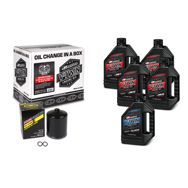 Maxima Oils - V-Twin Oil Change Kits - Sportster Synthetic 20W-50 Black Filter ('86 - current Sportster Engines)